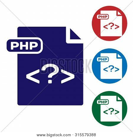 Blue Php File Document. Download Php Button Icon Isolated On White Background. Php File Symbol. Set