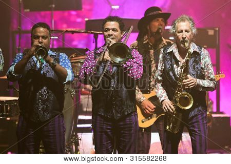 HUNTINGTON, NY - JUL 18: (L-R) Ravi Best, Clark Gayton and Stan Harrison of Little Steven and the Disciples of Soul perform in concert on July 18, 2019 at the Paramount in Huntington New York.