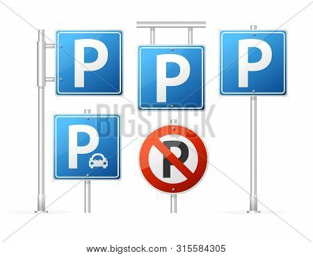 Realistic Detailed 3d Different Types Parking Road Sign Set With Guidepost Metal Pole For Auto. Vect