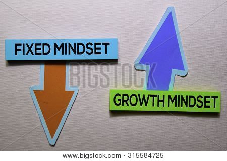 Fixed Mindset And Growth Mindset Text On Sticky Notes Isolated On Office Desk