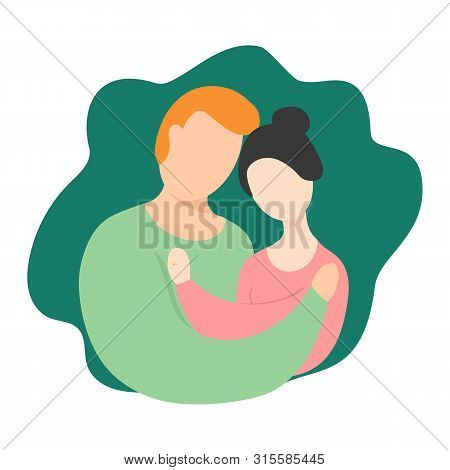 Interracial Couples Vector Illustration. The Interaction Of Marriage. Couple With Rings. Interracial