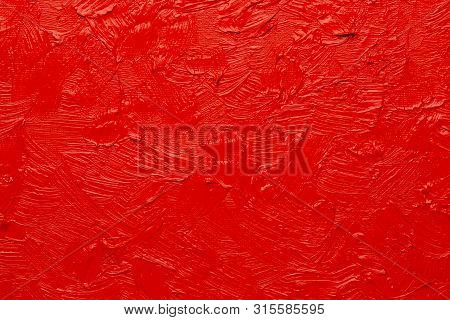 Abstract Painting Background. Background Was Painted With Red Vermillion Oil Color On Canvas By Hand