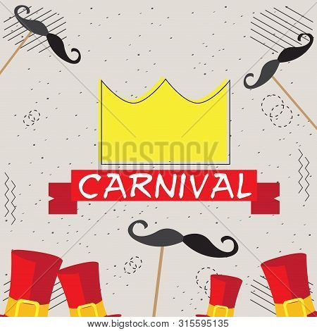 Colored Carnival Poster With A Crown, Tophats Nad Moustaches - Vector