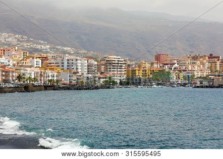 Atlantic Ocean Shore In Candelaria, Tenerife Island, Spain