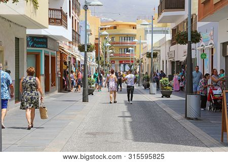 Candelaria, Spain - June 1, 2019: Main Street Candelaria Town, Tenerife, Spain