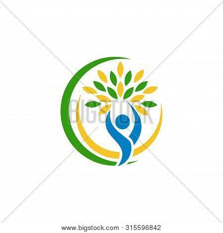 Organic Logo. Leaf People Logo. Natural Products Logo. Cosmetics Icon. Spa Logo. Beauty Salon Logo.