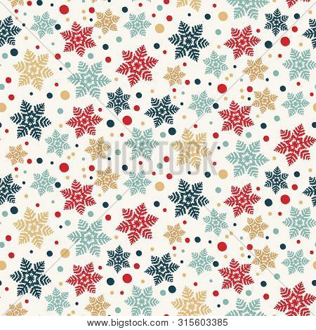 Hand Drawn Abstract Winter Snowflakes Pattern. Stylish Crystal Stars. Red Green Ecru Background. Ele