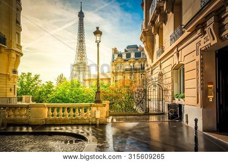Cosy Paris Street With View On The Famous Eiffel Tower On A Cloudy Summer Day, Paris France, Retro T