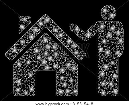 Glowing Mesh Realty Buyer With Glow Effect. Abstract Illuminated Model Of Realty Buyer Icon. Shiny W