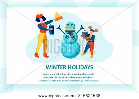 Winter Holidays Banner, Cheerful Mother And Daughter Making Snowman On Street, Woman And Little Girl