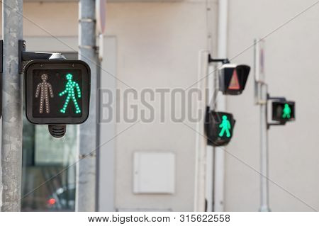 Pedestrian Green Light On A Traffic Light, Abiding By The French And European Traffic Regulations, L