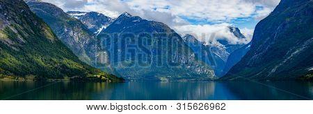 Panorama Beautiful Nature Norway natural landscape. lovatnet lake Lodal valley.