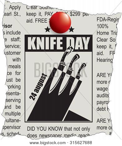 Fragment Of Classifieds Newspaper With Space For Knife Day