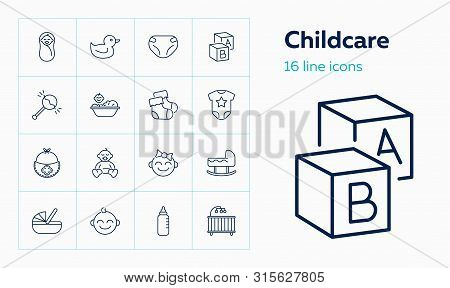 Childcare Icons. Set Of Line Icons On White Background. Baby, Diapers, Cradle. Childbirth Concept. V