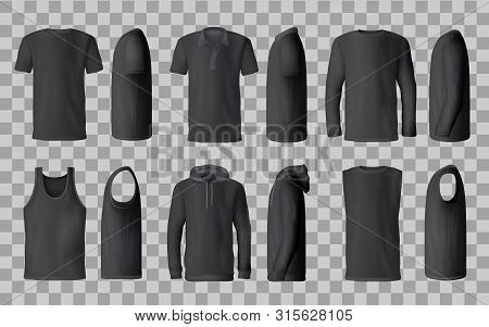 Male Black Shirt Vector Templates, 3d Mockup Of Blank T-shirts From Side And Front Views. Polo, Swea