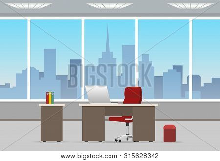 Office Room Business Interior. Home Or Corporate Offices Workstation With Chair And Computer, Table