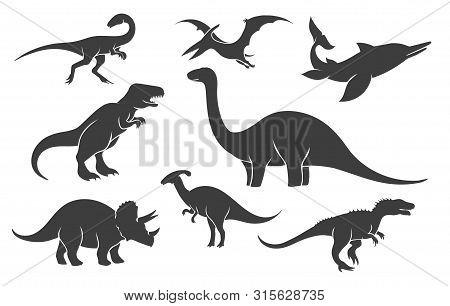 Dinoussaur Silhouette Set. Mesozoic Raptor Silhouettes, Ancient Rex Pangolin Vector Black Illustrati
