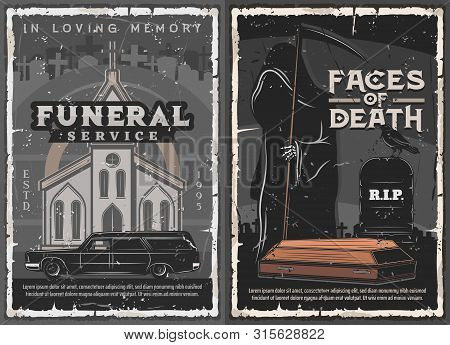 Funeral Service, Burial, Cremation And Interment Ceremony Vector Design. Death With Black Coat, Sick
