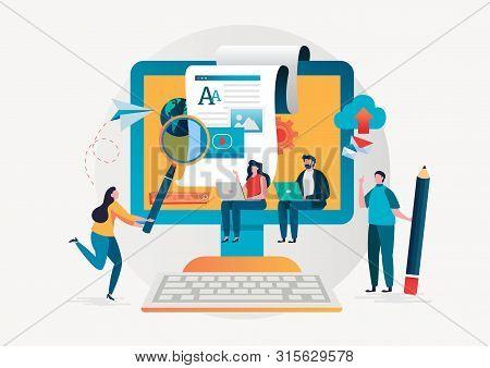 Blogging. Freelance. Creative Writing. Copy Writer. Content Management. Flat Cartoon Miniature  Illu