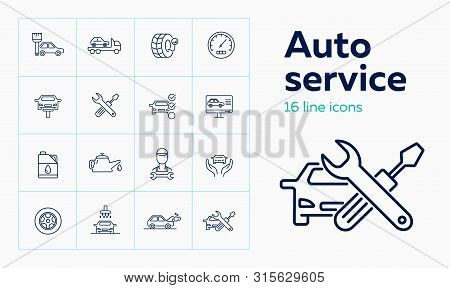Auto Service Line Icon Set. Set Of Line Icons On White Background. Auto Concept. Car, Checking, Mach