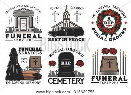 Funeral Ceremony Vector Icons Of Burial, Cremation And Interment Service. Cemetery, Tombstone And Co
