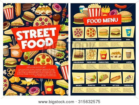 Fast Food Restaurant Vector Menu With Burger Sandwiches, Drinks And Desserts. Pizza, Hamburger And S
