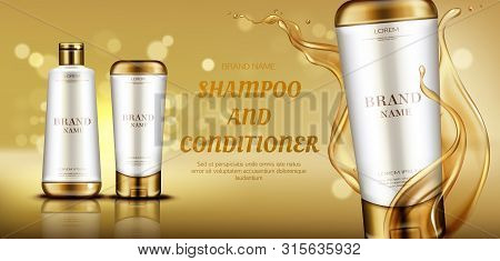 Cosmetics Beauty Product Bottle Mockup Banner On Gold Background With Liquid Droplets Splash. Hair C