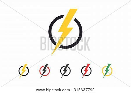 Isolated Energy Icon. Lightning Icon In A Circle In Different Colors