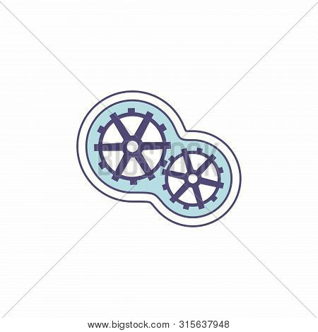 Isolated Gear Icon On White Background. Icon Of Two Gears