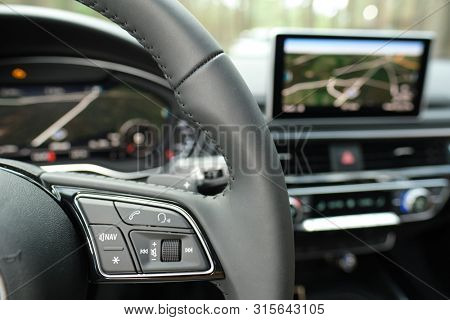Multifunction Steering Wheel . Switch Button Audio Volume Media Control Switch Button of luxury car poster