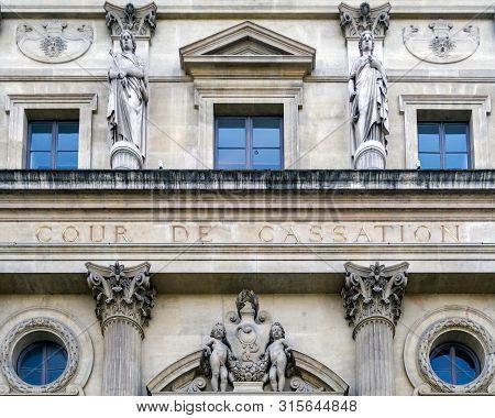 Paris, France, April 30, 2019: Official Building Of Cour De Cassation -court Of Cassation- In Paris