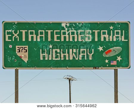 Photo Of The Sign At The Entrance To Extraterrestrial Highway 375.