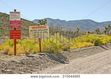 The Signs At The Entrance To Area 51, Groom Lake, Nevada