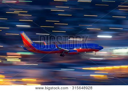 Las Vegas, Nevada, Usa - May 5, 2013: Southwest Airlines Boeing 737 Airliner On Approach To Land At
