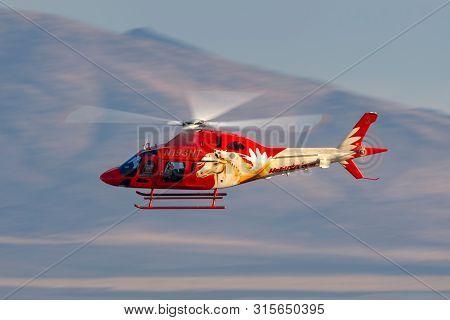 Las Vegas, Nevada, Usa - May 8, 2013: Heli Usa Agusta Aw119 Helicopter Operating Sightseeing Flights