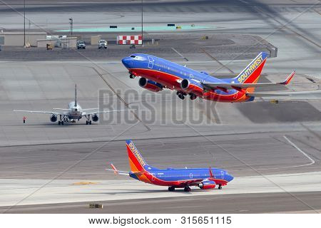 Las Vegas, Nevada, Usa - May 8, 2013: Southwest Airlines Boeing 737 Airliner Taking Off From Mccarra