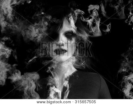 3d Rendering Of A Dead Ghost Woman Wraith That Is Dissolving In Smoke Or Vaporizing Like A Ghost Or