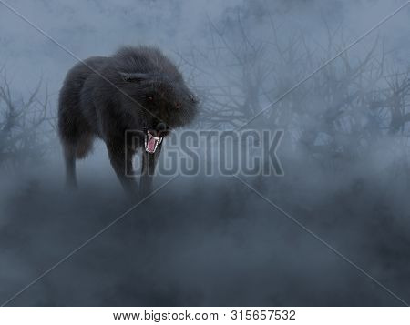 3d Rendering Of A Black Growling Aggressive Wolf With Glowing Red Eyes In A Dark Mysterious Foggy Fo