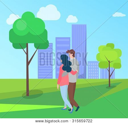 Embracing People In Love And Summer Season, Man And Woman Walking Outdoors, Buildings On Background.