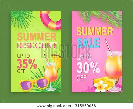 Summer Discount Sale Set Vector. Proposition And Clearance, Seasonal Price Reduction. Lifebuoy And S