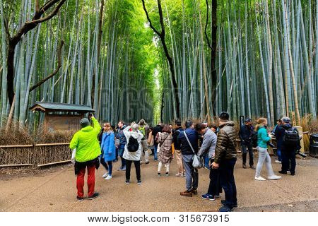 ARASHIYAMA, JAPAN, APRIL 02, 2019 : Tourists are taking pictures at the entrance of the Arashiyama bamboo forest path .
