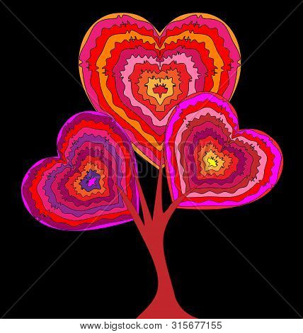 Dark Background And The Abstract Heart-shaiped Tree