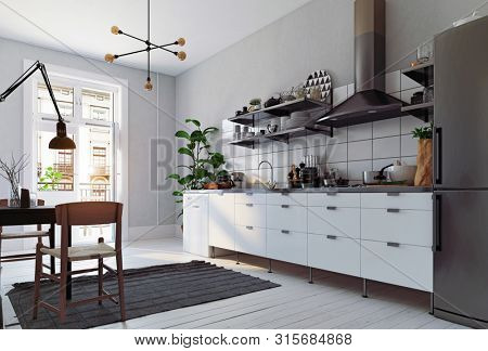 modern scandinavian style kitchen interior. 3d rendering design