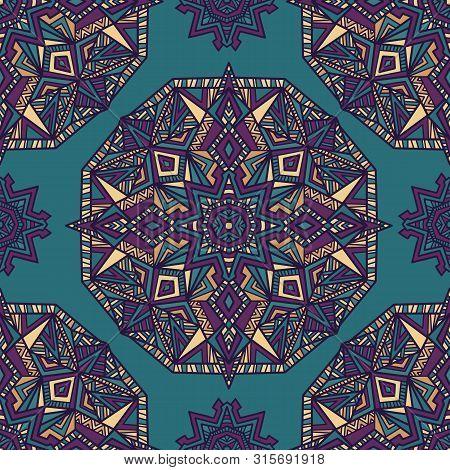 Mandala Vector Seamless Pattern Background. Tribal Ornament.