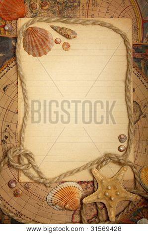 Empty Sheet, Seashells And Rope On Maps