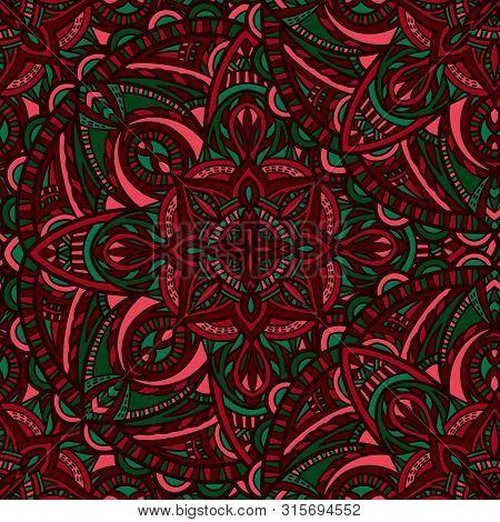Mandala Vector Seamless Pattern Background. Tribal Ornament