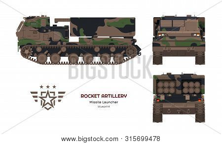 Missile Vehicle In Realistic Style. Rocket Artillery. Side, Front And Back View. 3d Image Of Militar
