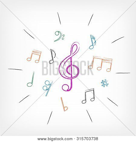 Drawing Musical Notes Vector Photo Free Trial Bigstock