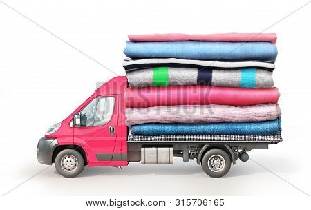 Concept Of Clothing Delivery. A Van With A Stack Of Clothes On A Platform Isolated On White Backgrou