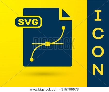 Blue Svg File Document. Download Svg Button Icon Isolated On Yellow Background. Svg File Symbol. Vec